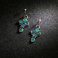 Boucles d'oreilles Petit Chandelier Floral Trefle Turquoise Vert Gravure DD13