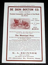 1903 OLD MAGAZINE PRINT AD, DE DION-BOUTON, AUTOMOBILES AND MOTORS OF THE WORLD!