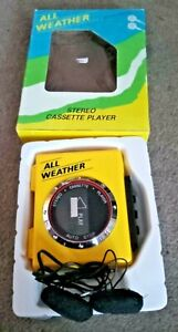 All Weather Stereo Cassette Player  Vintage Yellow Full working order boxed