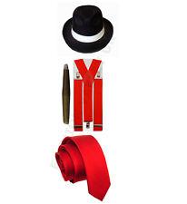 MENS GANGSTER MAFIA PIMP ADULT FANCY DRESS TIE HAT CIGAR BRACES 1920'S OUTFIT