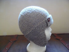 Hand knitted baby boys aviator/trapper hat, oatmeal age 0-3 months