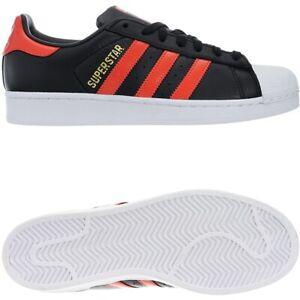 Adidas Superstar Herren schwarz orange Leder Low-Top Sneakers Freizeitschuhe NEU