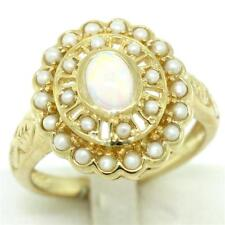 Aussie Opal & Pearl 9ct Solid Gold Antique Style Ring, Sz N/7, 30 Day Refunds