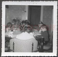 Unusual Vintage Photo View of Curly Hair Girl Head Praying w/ Familyl 661116