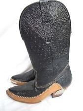 EL CHARRO COWBOY BOOTS SIZE 7 BLACK OSTRICH MEXICO