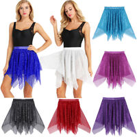 Women Asymmetric Polka Dots Ballet Skirt Dress Skate Over Wrap Tutu Dancewear