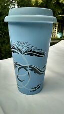Ceramic Coffee Cup Tumbler Rubber Top Reusable Eco Friendly Blue