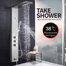 Thermostaic Shower Panel Tower Waterfall Massage System Body Jets Brushed Nickel