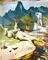 Vintage Art Print Peter McIntyre Cook's Bay Moorea Pacific Islands Tahiti Girl