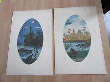 2 aquarelles originales ovales signees V.N. VAUCHER ORIENT
