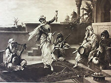 Luigi Crosio Orientaliste héliogravure au grain XIXe Scène Mauresque danse