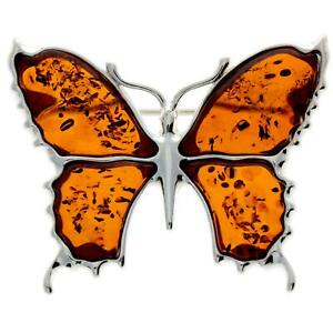 925 Sterling Silver & Baltic Amber Jewellery - AD800 - Designer Butterfly Brooch