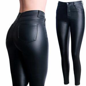 Damen Skinny Hose Lederoptik Glanz Wet Look High Waist Stretch Treggings