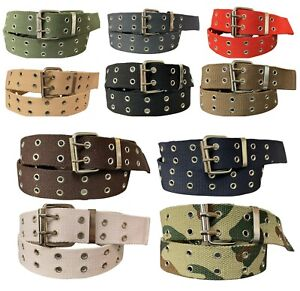 Men's Canvas Belt Double Grommet Double Prong 100% Cotton Durable Work or Casual