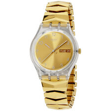 Swatch Originals Goldbrunnen Gold Dial Stainless Steel Ladies Watch GE708B