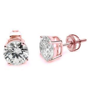 2 ct. White Sapphire Screw Back Stud Earrings in 14k Rose Gold/Silver