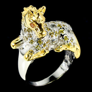 Round Yellow Sapphire Diamond Cut White Topaz 925 Sterling Silver Horse Ring 7