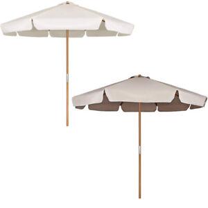 3M Holz-Sonnenschirm mit Seilzug Gartenschirm Marktschirm Florida creme / taupe