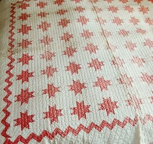 """Vintage Hand Stitched Lone Star Quilt Red White Feedsack? Fabric 68"""" x 62"""""""