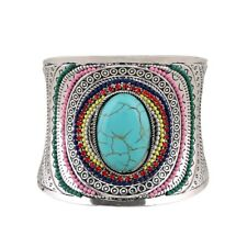 Curved Beads Cuff Gem Wide Boho Vintage Women Turquoise Bracelets Bangle