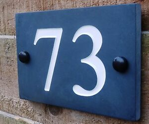 Deep Engraved Honed Natural Slate House Number Sign Plaque HIGH QUALITY 1 - 99