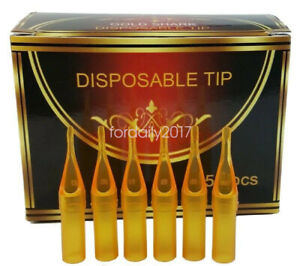 50PCS/box Gold Tattoo Disposable Nozzle Cutting Diamond Needle Tube Tip RT FT DT