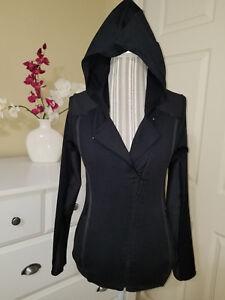 HURLEY NIKE DRI FIT Women`s Black Moto Jacket Asymmetric Zip Hooded Sz. S
