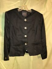 Vtg 1980s Georges Marciano Black Ladies Blazer With Gold Buttoms Sz6 Linen & Ray