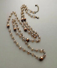 Cream glass pearl crystal long necklace . bronze tone beige bridal prom wedding