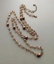 Dark Cream glass pearl crystal long necklace . bronze tone beige bridal brown