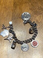 VTG JB SIGNED STERLING SILVER 8 CHARM BRACELET MOTHER MUSTARD SEED GOOD LUCK 925
