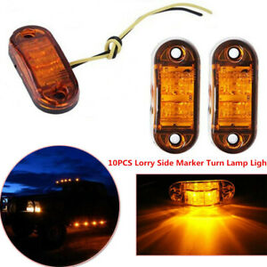 10Pcs Amber 2LED Clearance Trailer Truck Lorry Side Marker Turn Lamp Light Grand
