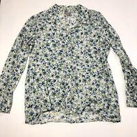 Women's Size PS Petite Small J Jill Pretty Floral Long Sleeve Button Down Shirt