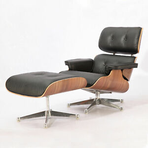 Walnut wood Lounge Chair & Ottoman with Black leather (SLIVER BASE)