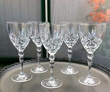 "Beautiful Set Of 5 Crystal Cut Glass Wine Glasses 7"" High 17.5 CL Size."