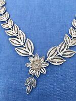 Mothers Day Gift Vintage Silver Jewellery Filigree Necklace Leaf Flower Fine