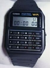 Men Casio Calculator Watch 437 Ca-53w Chronograph Alarm Black Resin Band New