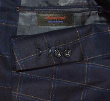 46R Tom James Navy Blue Windowpane Custom Surgeon Sport Coat Blazer Jacket