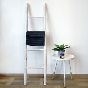 Bambus Dekoleiter weiß - 150x40cm - Shabby Chic Leiter Holzleiter Wanddekoration