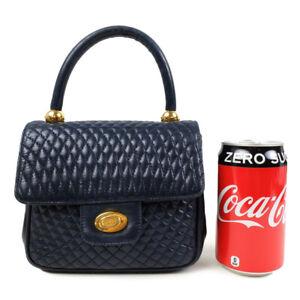 BALLY Leather Mini Handbag Navy Hardware Gold