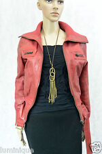 *NEW LOOK* Vintage Leather Jacket XS S 10 8 6 Red Knit Coat Belt Buckle Brass