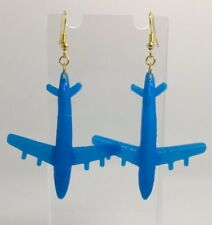 Pendientes de Acrílico Plano Grande Azul F045 estilo 1 aéroplane Kitsch Divertido