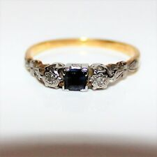Art Deco 18ct Gold Platinum Princess Sapphire Diamond Trilogy Ring N ~ 6 3/4