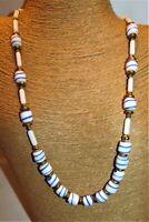 """AMAZING Vtg VENETAIN MURANO Blue Swirl CZECH ART GLASS BEADED NECKLACE-30"""""""