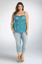 NWT Torrid Plus Size 4X Blue Floral Ruffle Babydoll Tank Top Shirt Blouse (VV4)
