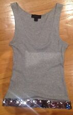 Express Pima Cotton Sequined Tank Top Gray XS