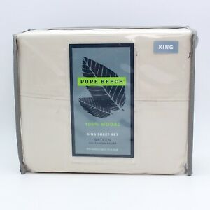 Pure Beech 100% Modal Sateen King Sheet Set - Ivory - 807000153381 - Silk-like