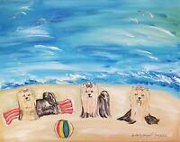 Yorkie at the Beach Giclee Art Print 11x14 Signed Artist KSams Yorkshire Terrier
