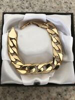 "9ct Yellow Gold gf Curb Bracelet Chain 13mm Links   8 Or 9""  FREE Luxury Box"