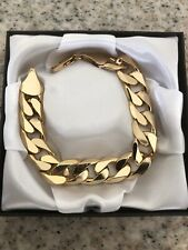 """9ct Yellow Gold gf Curb Bracelet Chain 13mm Links   8 Or 9""""  FREE Luxury Box"""